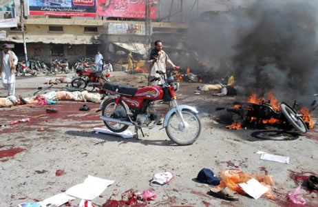 Scene of jihadi bomb attack