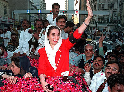 Benazir Bhutto in a crowd