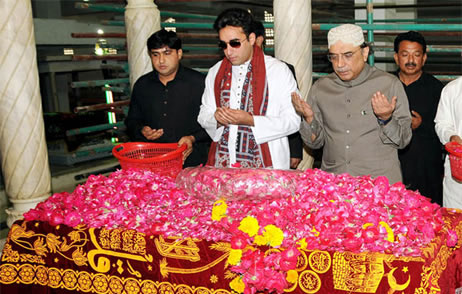 Bilawal Bhutto Zardari and President Asif Ali Zardari visit ancestral graveyard of the Bhutto family