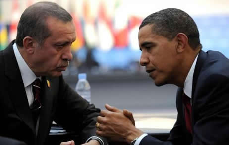 Obama listening to Turkish PM Erdogan