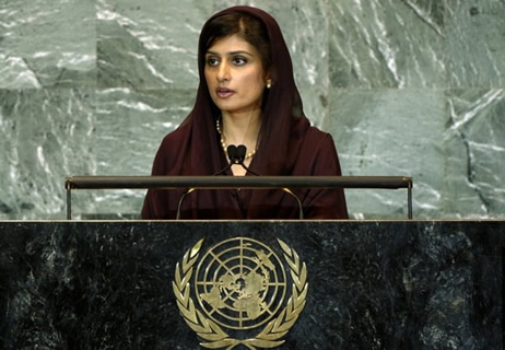Foreign Minister Hina Rabbani Khar addressing the UN