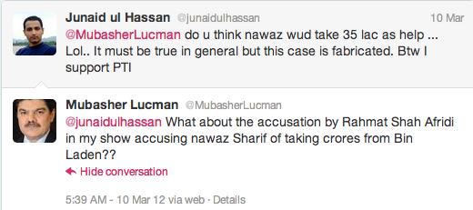 Mubasher Lucman accuses Nawaz Sharif of being paid by Osama bin Laden