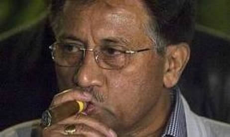 Gen. Musharraf smoking his cigar