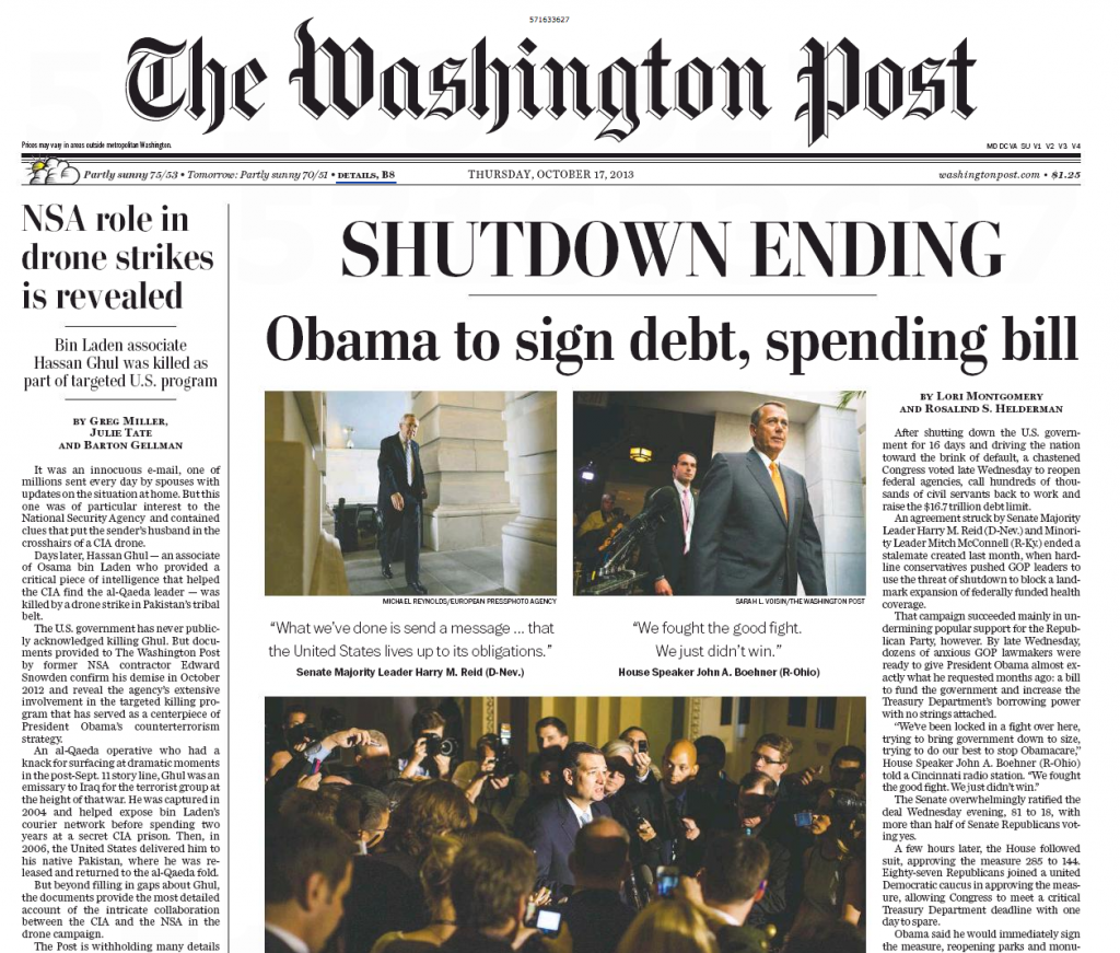 Washington Post – Shutdown Ending
