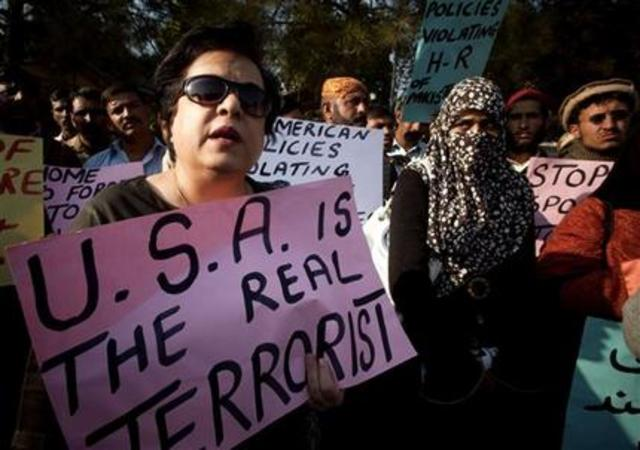 PTI spokesperson Shireen Mazari leads anti-American demonstration