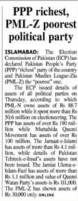 Daily Times report on political parties wealth