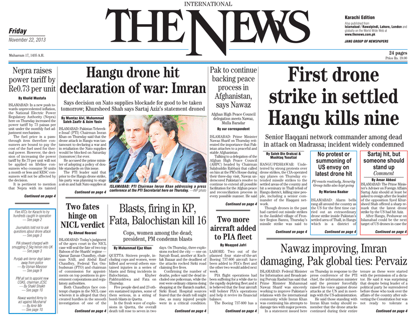 Headlines of drone strike