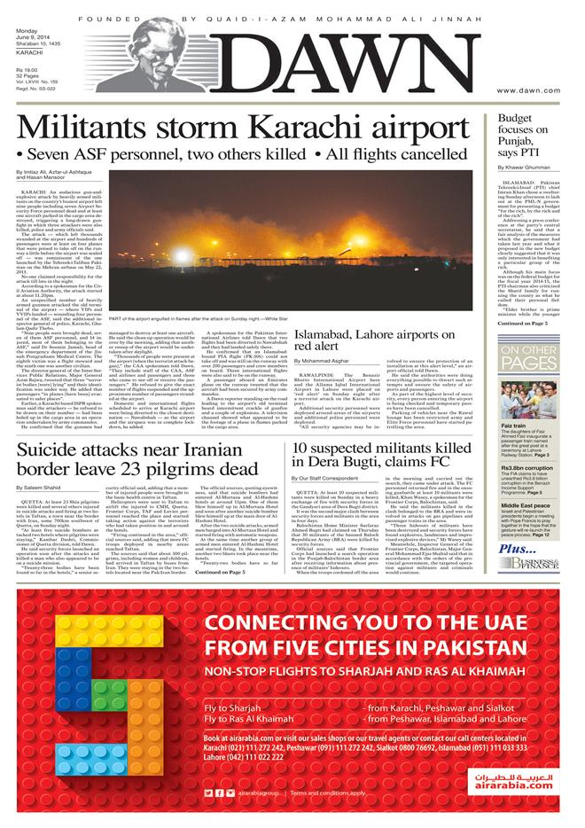Front page DAWN 9 June 2014
