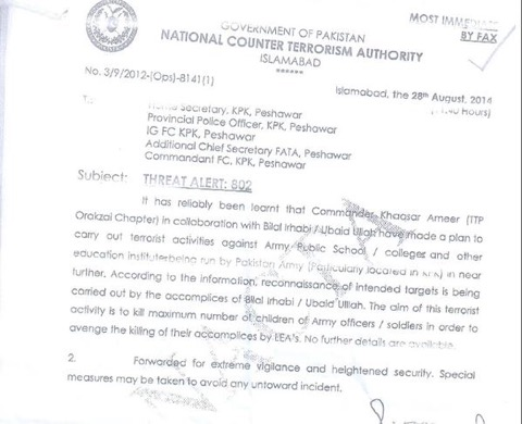 KP Govt Warned about Peshawar Attack