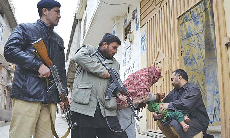 Polio drops being delivered under armed guard