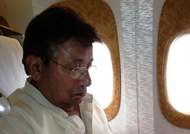 Gen Musharraf on a plane