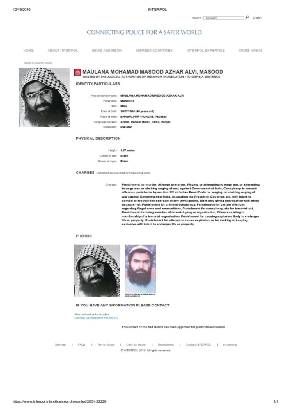 Maulana Masood Azhar Red Warrant
